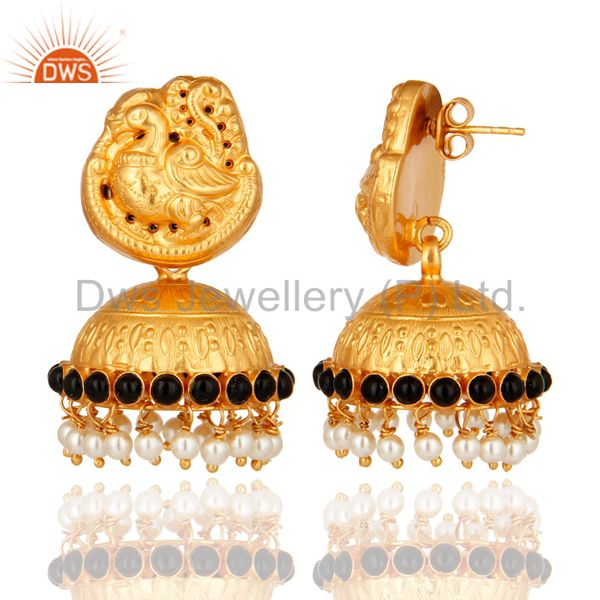 Exporter Indian Handcrafted 925 Silver Gold Plated Traditional Earrings Jewelry