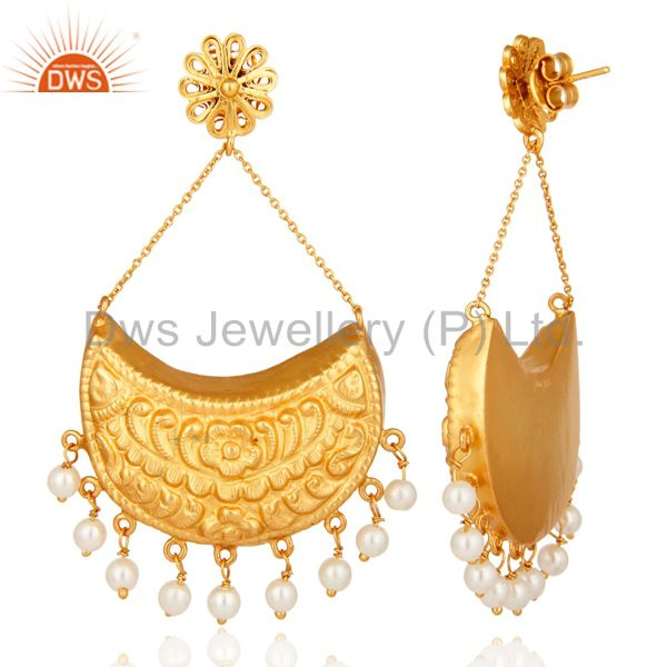 Exporter 18K Gold plated Sterling Silver Crescent Moon Dangle Earrings With Pearl Beads