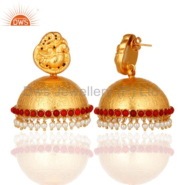 Exporter 18K Gold On Sterling Silver Maharajas Traditional Jhumka Earrings With Pearl