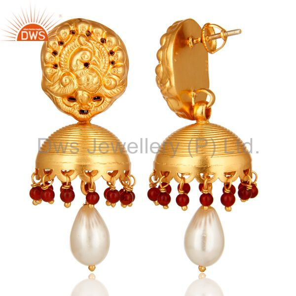 Exporter Red Onyx And Pearl High End Designer Jhumka Earrings in 14K Gold On Sterling Sil