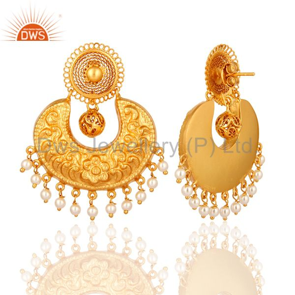 Exporter Natural Pearl Sterling Silver With Yellow Gold Plated Ethnic Designer Earrings