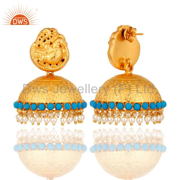 Exporter 22K Gold Plated Sterling Silver Traditional Style Natural Pearl Jhumka Earrings