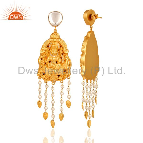 Exporter 22K Gold On Sterling Silver Traditional Lakshmi Temple Earrings with Pearl & CZ