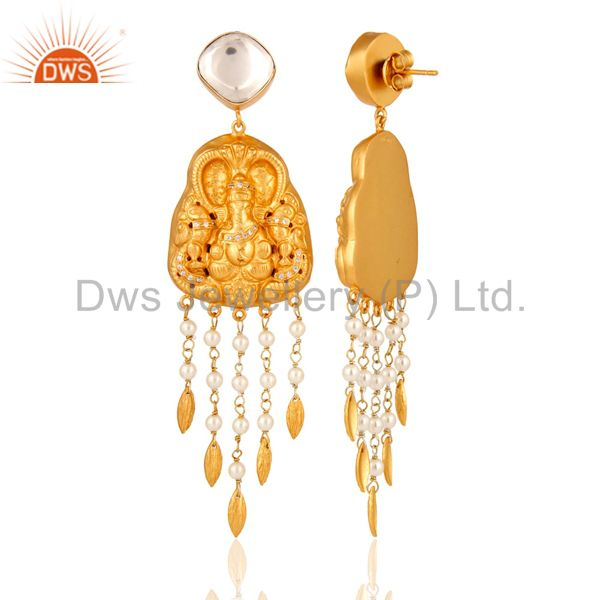 Exporter Pearl 18K Yellow Gold Plated Sterling Silver Hand-Carved Ganesh Dangle Earrings