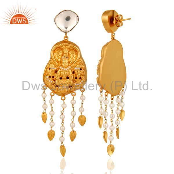 Exporter Natural Pearl Sterling Silver With Gold Plated Latest Designs Temple Earrings