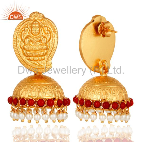 Exporter Gold Plated Sterling Silver Lakshmi Beautiful Ethnic Jhumkas Earrings With Pearl