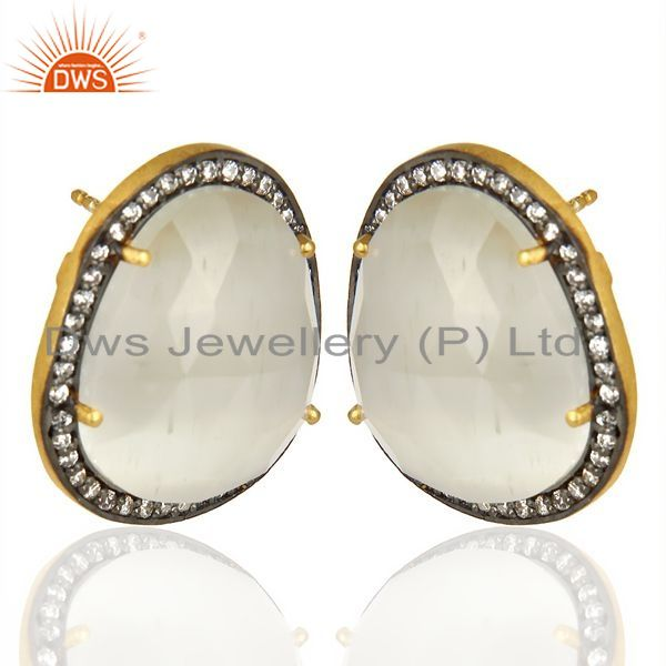 Exporter 14K Gold Plated 925 Sterling Silver Moonstone White Zircon Stud Earrigs Jewelry