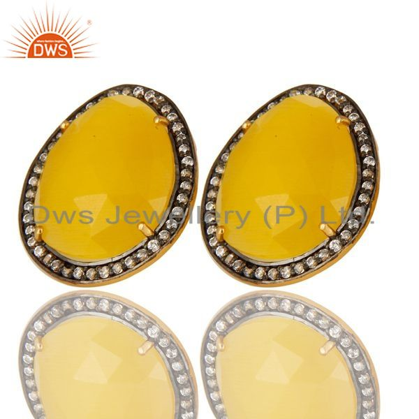 Exporter Yellow Moonstone And CZ Sterling Silver Stud Earrings With 18K Gold Plated