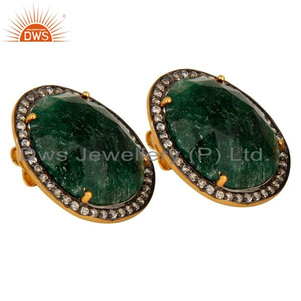 Exporter Gold Plated 925 Sterling Silver Green Aventurine Gemstone Stud Earrings With CZ