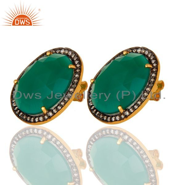 Exporter Faceted Green Onyx Gemstone Sterling Silver Ladies Stud Earrings - Gold Plated