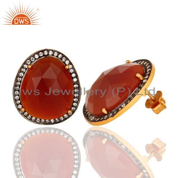 Exporter Faceted Red Onyx Gemstone And CZ Stud Earrings In 14K Gold On Silver
