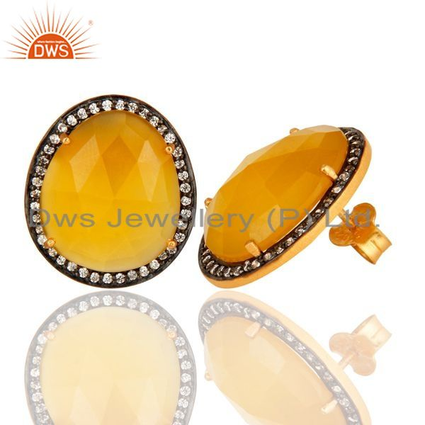 Exporter Gold Plated Sterling SIlver Fashion Stud Earrings With Yellow Moonstone And CZ