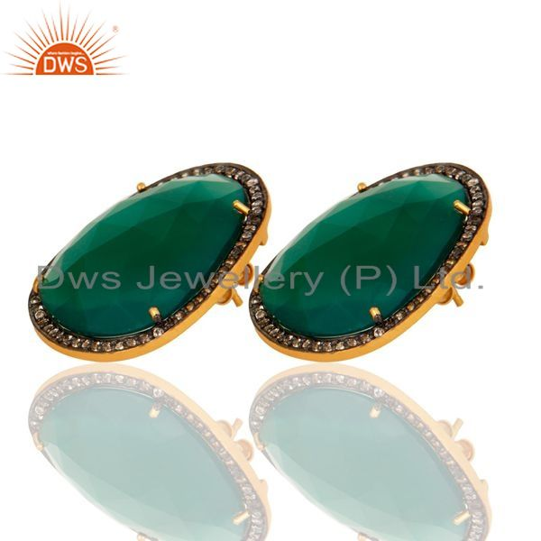 Exporter Faceted Green Onyx Gemstone Stud Earrings With CZ in 18K Gold On Sterling Silver
