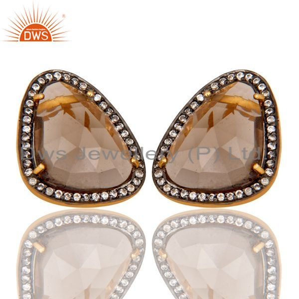 Exporter 18K Gold Plated Smokey Quartz and White CZ Sterling Silver Stud Earring