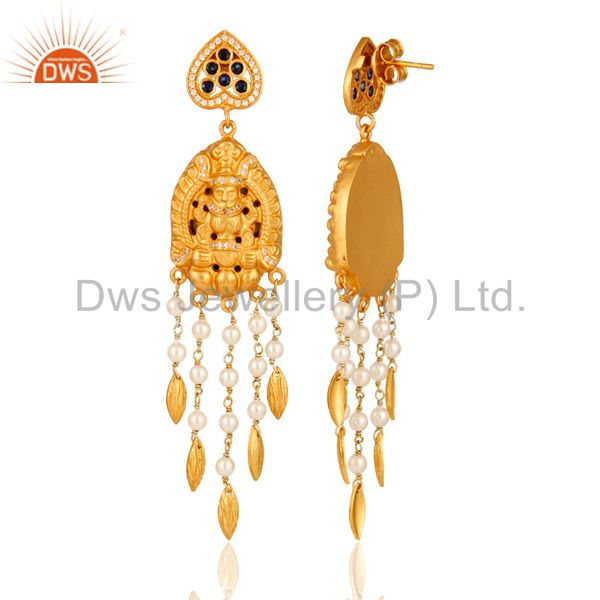 Exporter Handmade Sterling Silver Gold Plated Temple Jhumka Earring With Sapphire & Pearl