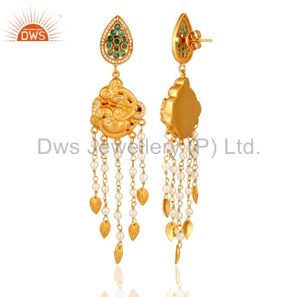 Exporter 925 Sterling Silver With Gold Plated Pearl & Emerald Indian Chandelier Earrings