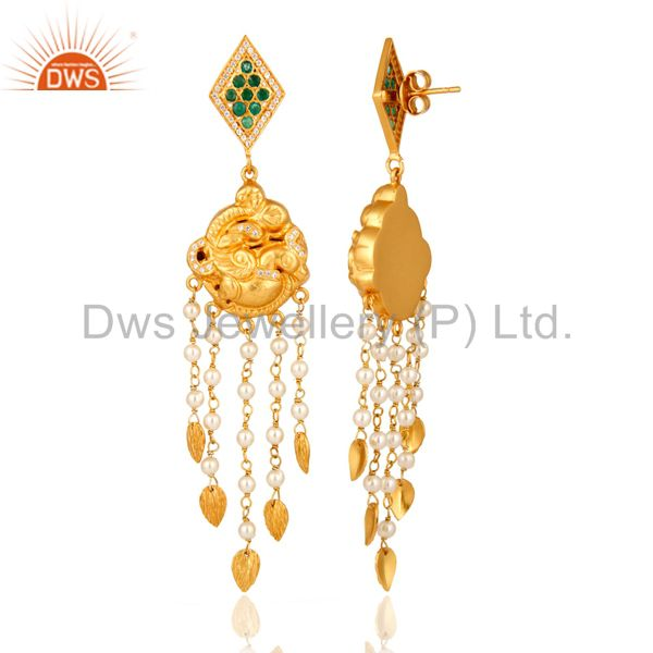 Exporter Emerald And Pearl Sterling Silver Indian Traditional Chandelier Temple Earrings