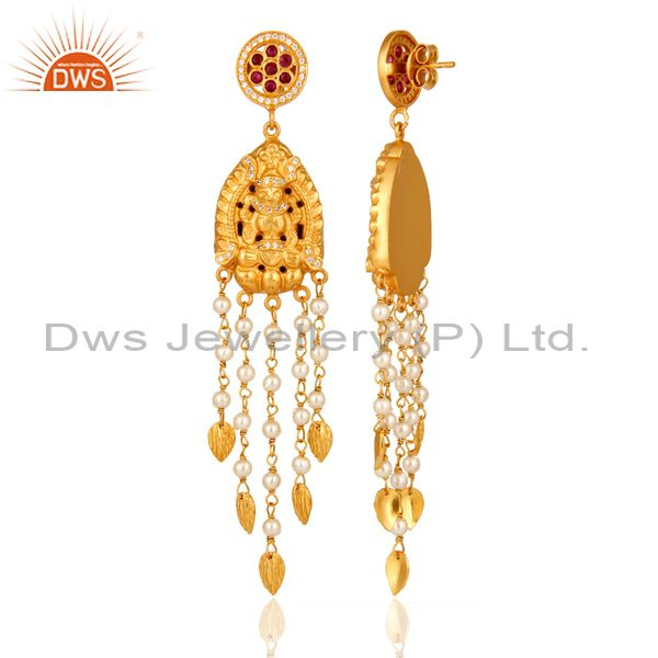 Exporter 22K Yellow Gold Over 925 Sterling Silver Ruby & Pearl Bridal Chandelier Earrings