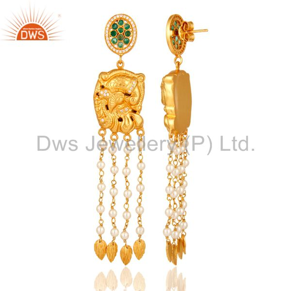 Exporter 22K Gold Plated Sterling Silver Emerald Indian Traditional Chandelier Earrings