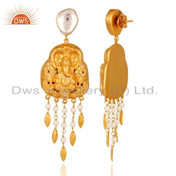 Exporter 22-K Yellow Gold Plated Sterling Silver Ganesh Carved Earring - Temple Jewelry