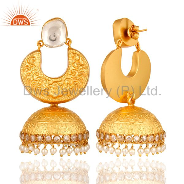 Exporter 22K Gold Over Sterling Silver Indian Fashion Jhumka Earring With Pearl Beads