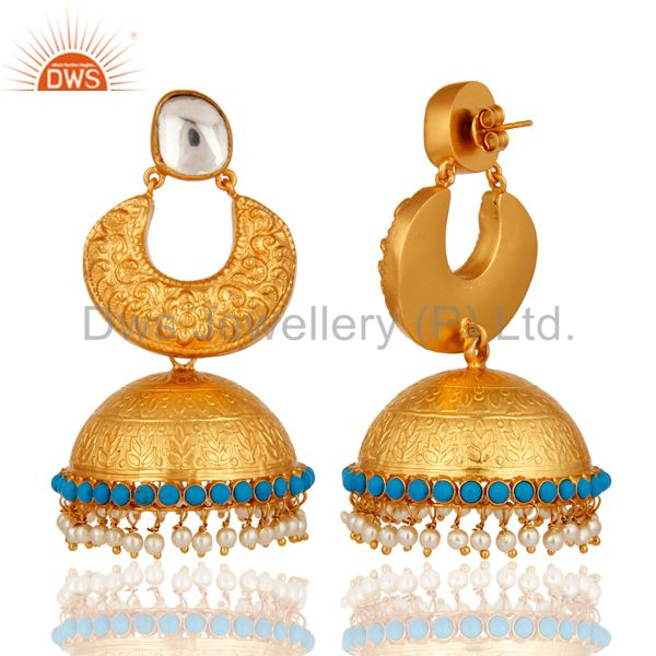 Exporter 22K Gold Plated Sterling Silver Temple Jewelry Earrings With Turquoise & Pearl