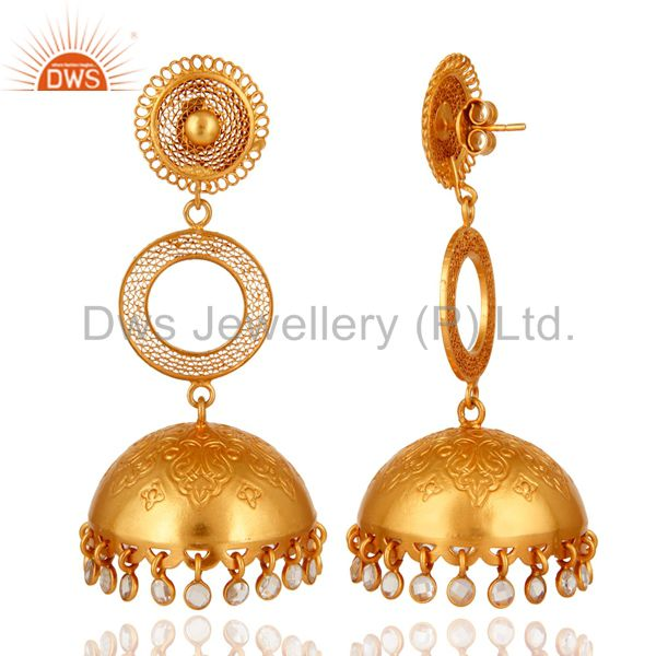 Exporter Designer Gold Plated 925 Silver Indian Ethnic Jhumka Earrings With CZ Polki
