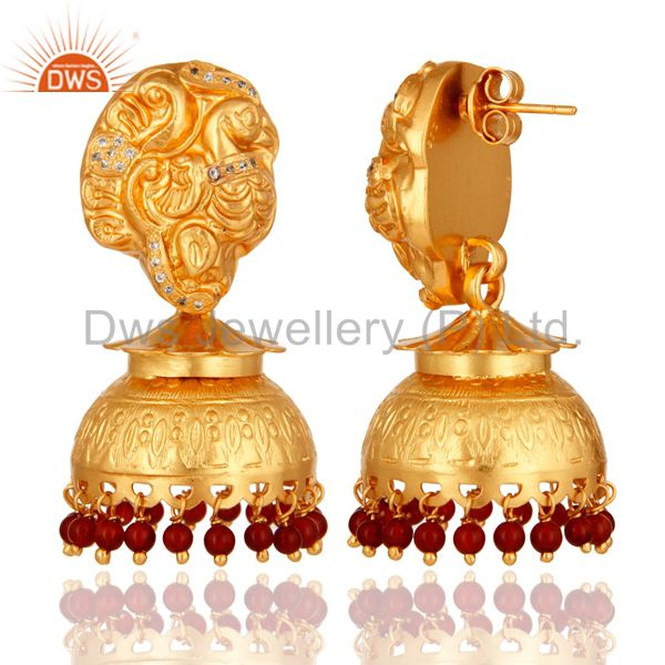 Exporter 22K Gold Plated Sterling Silver Maharajah Traditional Jhumka Earring - Red Coral