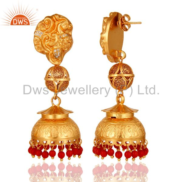 Exporter Coral Gold Plated Sterling Silver Designer Temple Dangle Earrings Gifts for Her
