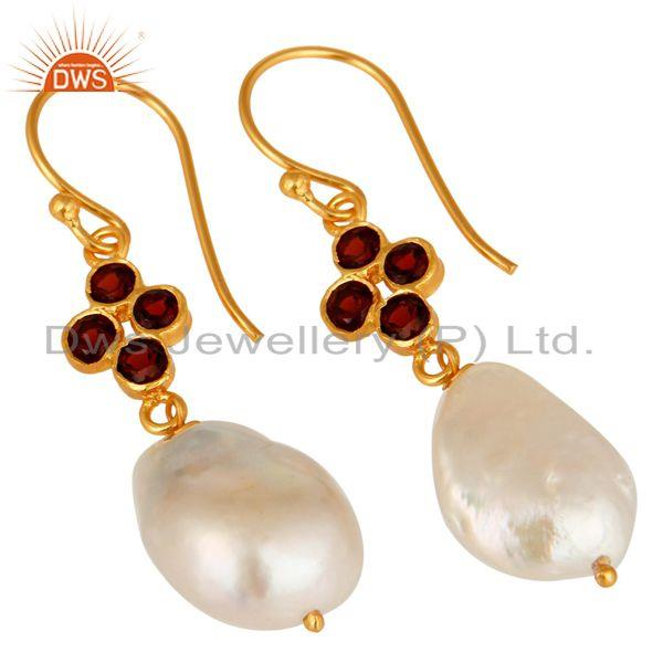 Exporter Natural Pearl And Garnet Gemstone Dangle Earrings In 18K Gold On Sterling Silver