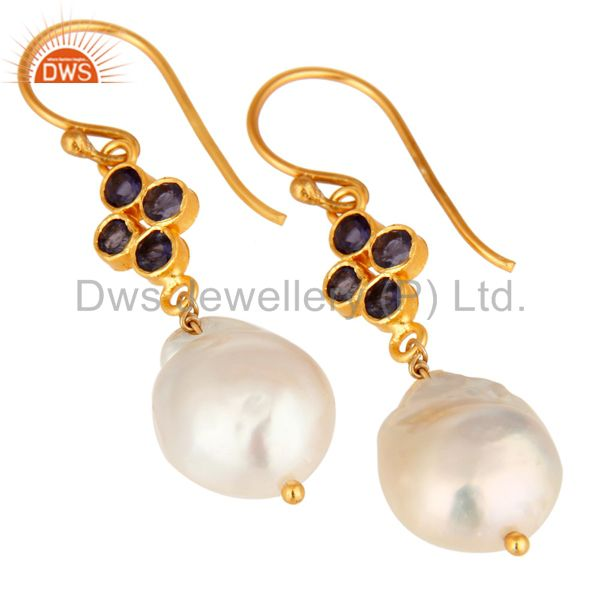 Exporter Gold Plated Sterling Silver Natural Iolite And Pearl Gemstone Hook Earrings