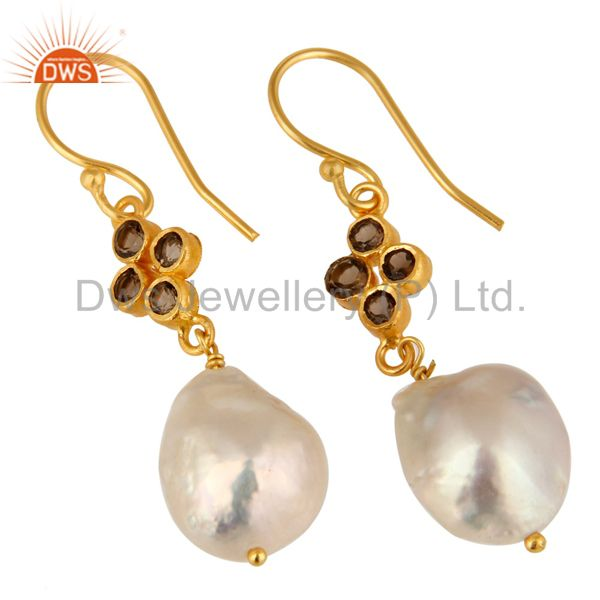 Exporter Natural Smoky Quartz And Pearl Dangle Earrings Made In 18K Gold Over Silver