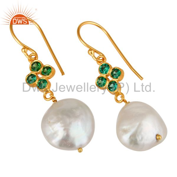 Exporter 18K Yellow Gold Plated Sterling Silver Green CZ And Natural Pearl Dangle Earring