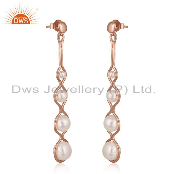 Exporter Rose Gold Plated 925 Silver Natural Pearl Dangle Earrings Wholesale Suppliers