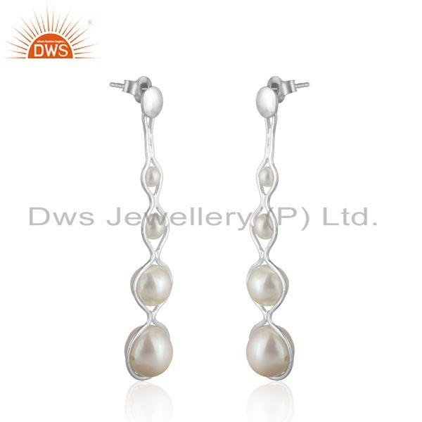 925 silver natural pearl long dangle earrings wholesale suppliers