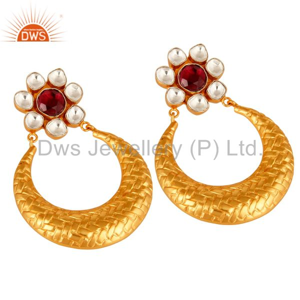 Exporter Rhodolite Garnet Sterling Silver Gemstone Unique Design Earrings - Gold Plated