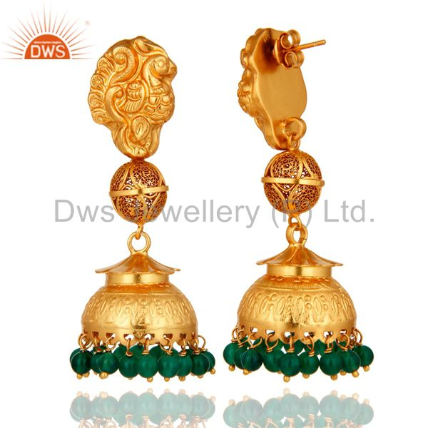 Exporter 18K Yellow Gold Plated Sterling Silver Green Onyx Ethnic Design Jhumka Earrings