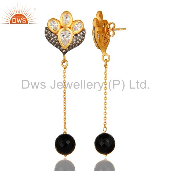 Exporter 18K Gold On Sterling Silver CZ & Faceted Black Onyx Beads Dangle Chain Earrings