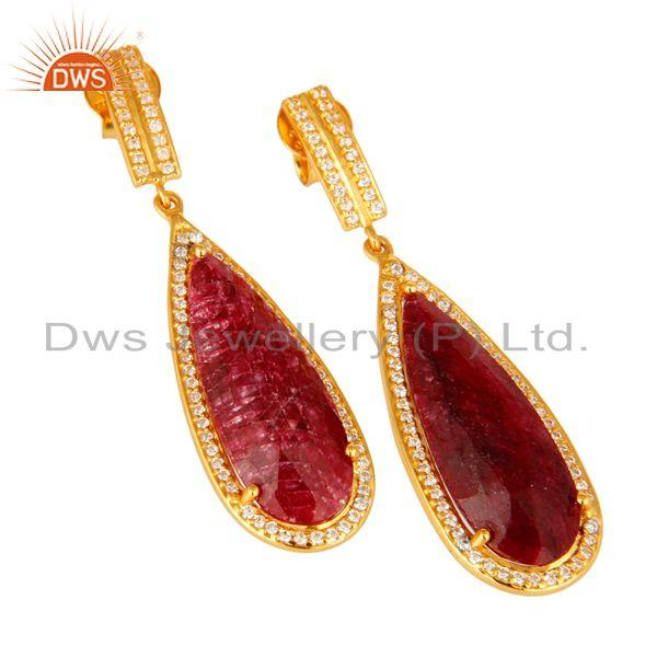 Exporter 14K Gold Over Sterling Silver Dyed Ruby Red Corundum & White Topaz Drop Earrings