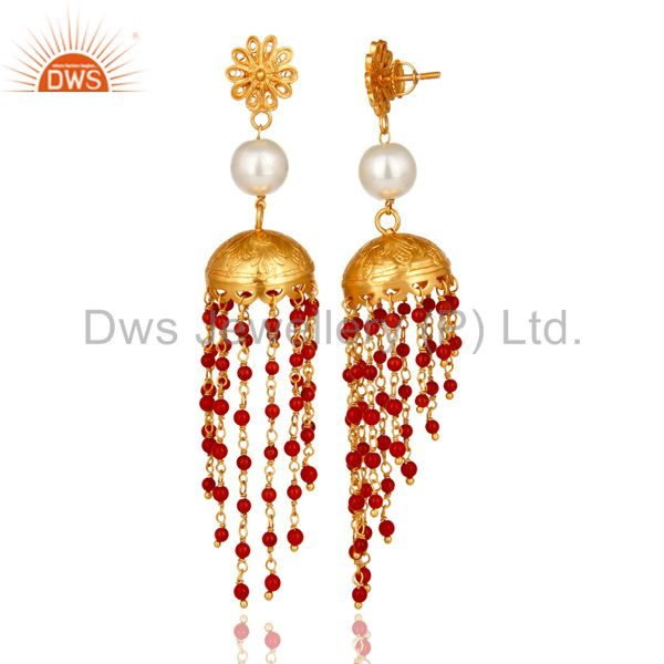 Exporter 22K Gold Plated Sterling Silver White Pearl & Red Coral Designer Jhumka Earrings