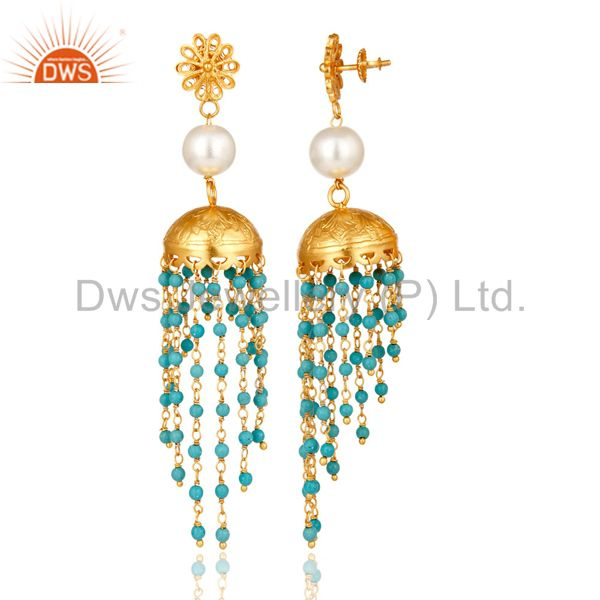 Exporter 14K Yellow Gold Plated Sterling Silver Turquoise & Pearl Ethnic Fashion Earrings
