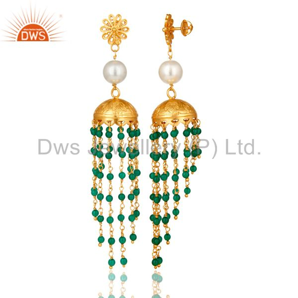 Exporter 22K Gold Plated Sterling Silver Pearl And Green Onyx Designer Jhumka Earrings