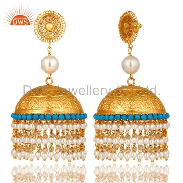 Exporter 22K Yellow Gold Plated Sterling Silver Turquoise And Pearl Indian Jhumka Earring