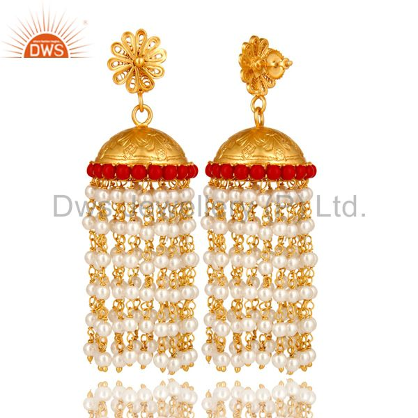 Exporter 18K Yellow Gold Plated Sterling Silver Red Coral And Pearl Beads Jhumka Earrings