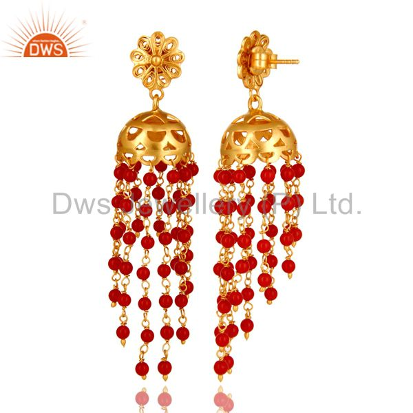 Exporter 18K Yellow Gold Plated Sterling Silver Red Coral Beads Chain Chandelier Earrings