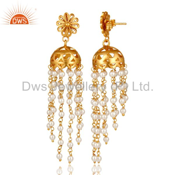 Exporter 18K Yellow Gold Plated Sterling Silver White Pearl Bead Chain Chandelier Earring