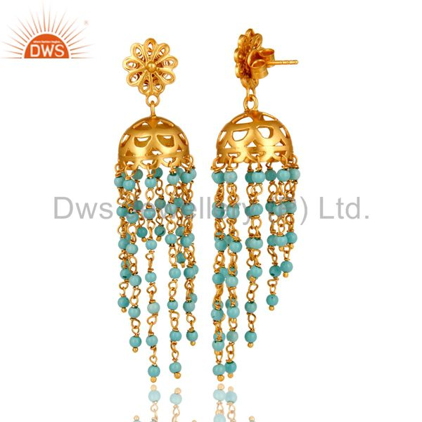 Exporter 18K Yellow Gold Plated Sterling Silver Turquoise Beads Chain Chandelier Earrings