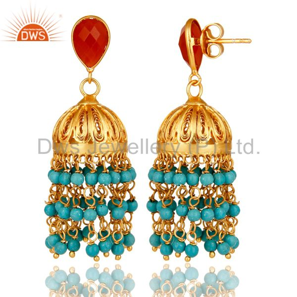 Exporter 22K Yellow Gold Plated Sterling Silver Red Onyx And Turquoise Jhumka Earrings
