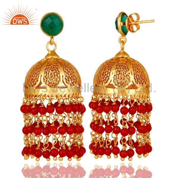 Exporter 22K Yellow Gold Plated Sterling Silver Red Coral And Green Onyx Jhumka Earrings