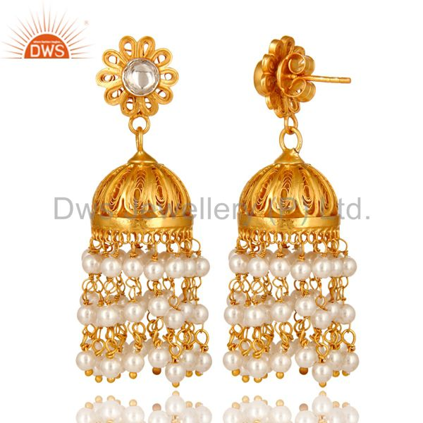 Exporter 14K Gold Plated Sterling Silver Pearl Beads And Crystal Quartz Jhumka Earrings